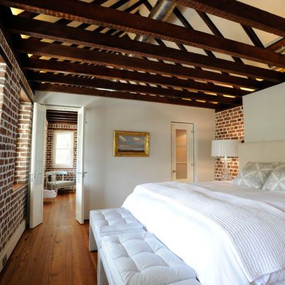 Exposed Ceiling Joists Design Ideas Pictures Remodel And Decor Remodel Bedroom Brick Wall Bedroom Guest Bedroom Remodel