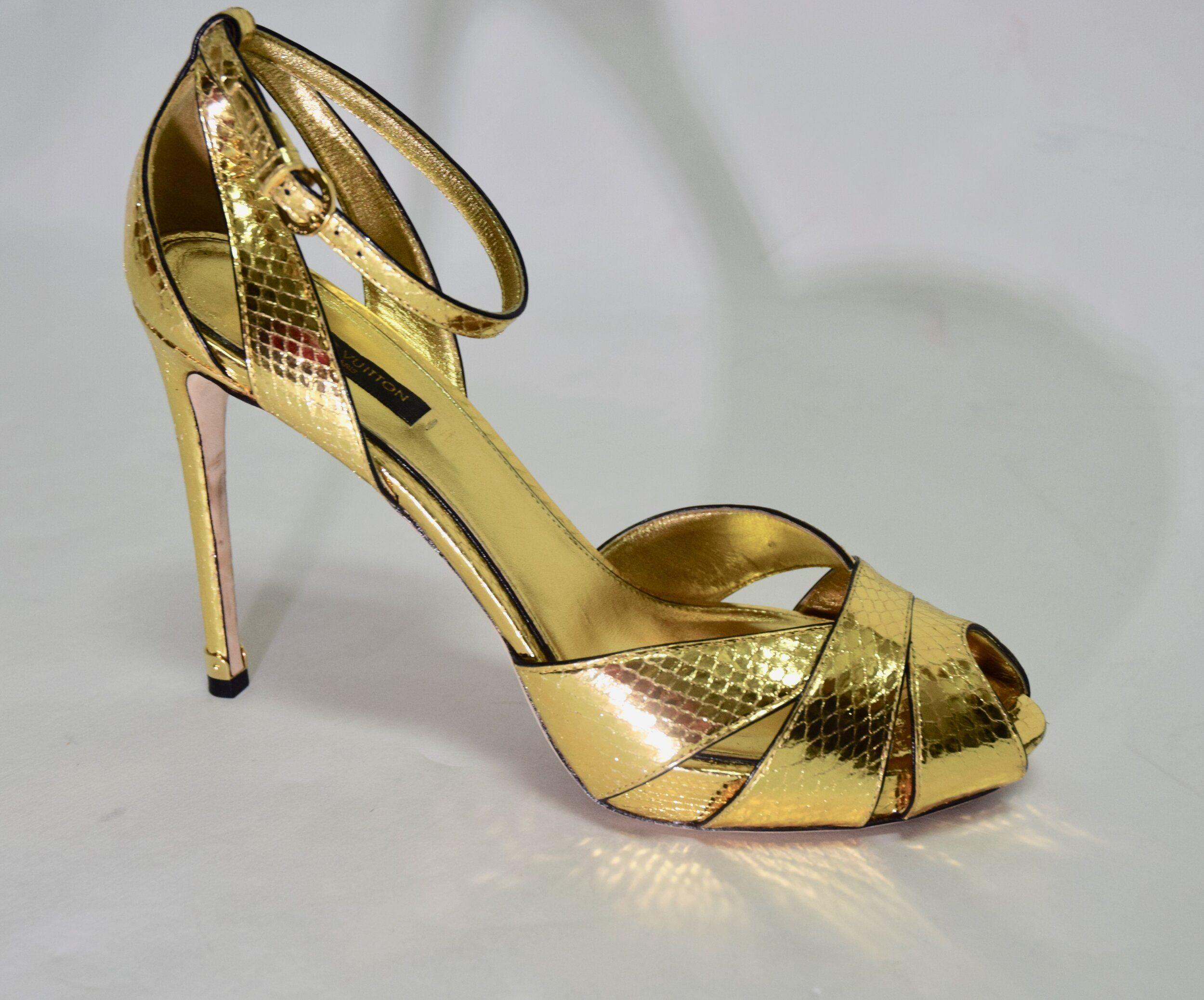Louis Vuitton | Gold Snakeskin Heel Sz