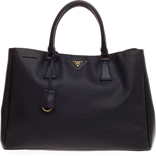 Pre-Owned Prada Lux Open Tote Saffiano Leather Large ($1,150) ❤ liked on Polyvore featuring bags, handbags, tote bags, black, prada handbags, colorful purses, preowned handbags, saffiano leather tote and structured handbag