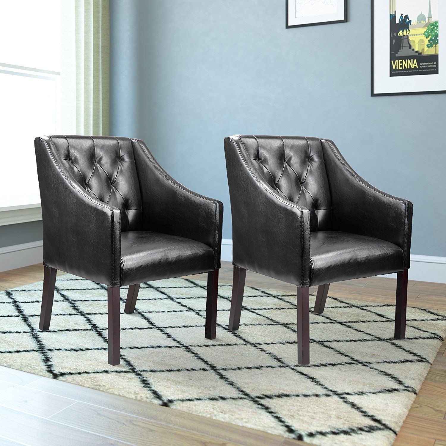 77 brown leather accent chair set of 2 best home office furniture