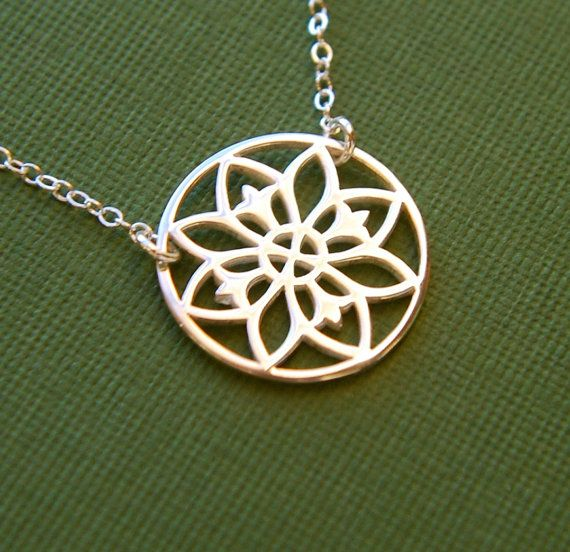 Silver Yellow Plated Flower Pendant 21mm