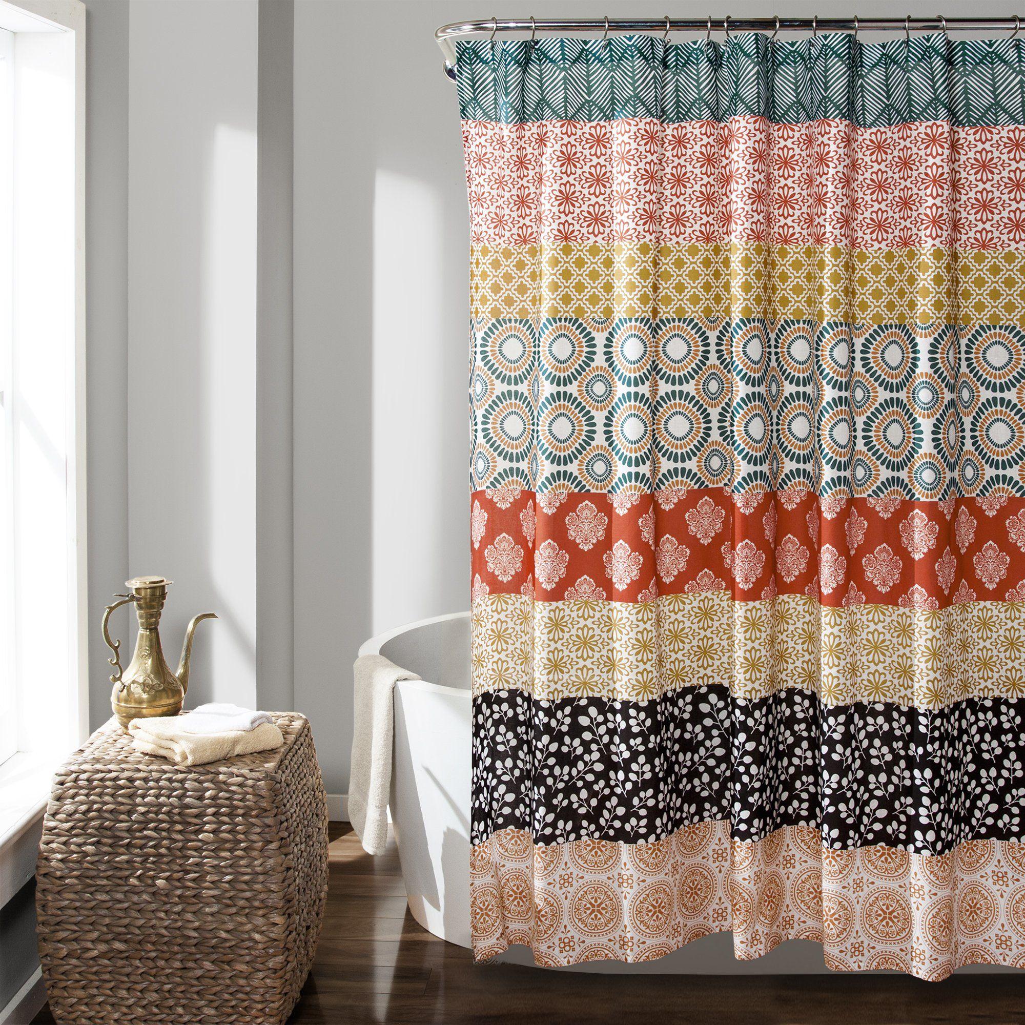 Bohemian Stripe Shower Curtain Striped Shower Curtains Bohemian