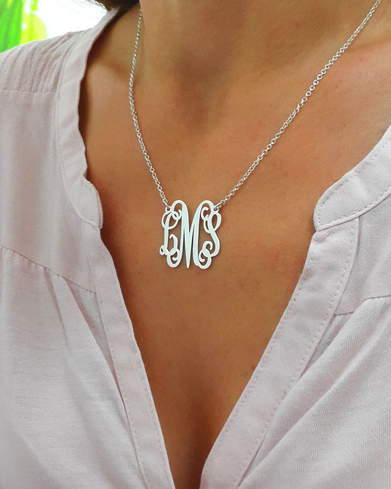 Personalized Monogram Necklace Silver by MonogramPersonalized