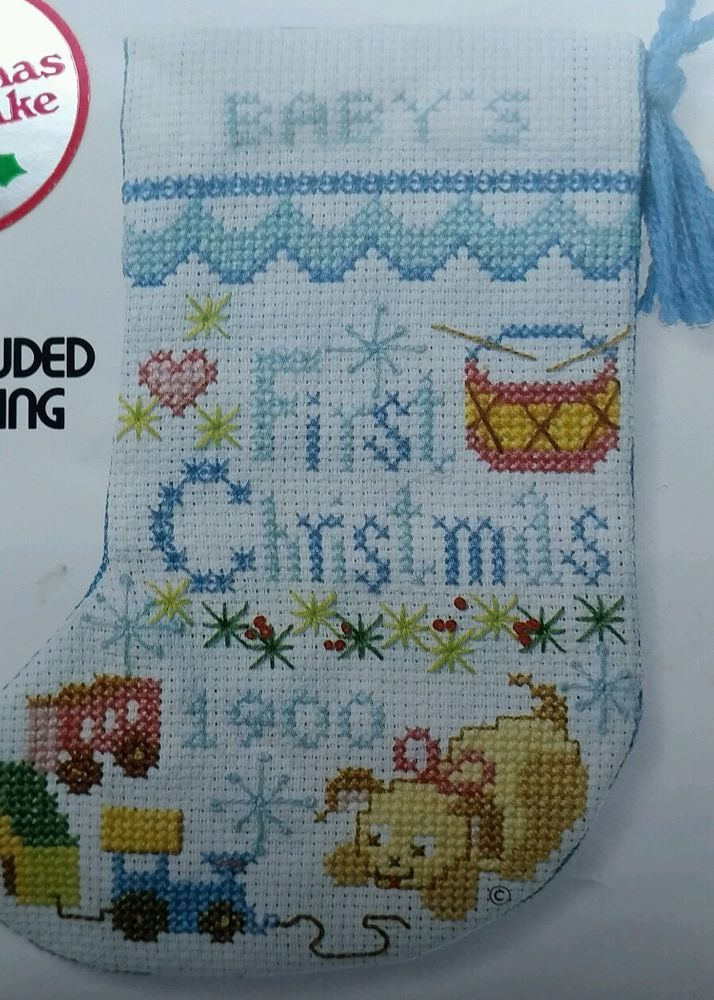 Pattern Only Babys First Christmas Stocking Boy Cross Stitch Jiffy Sunset  Sunsetjiffystichery Patternonly