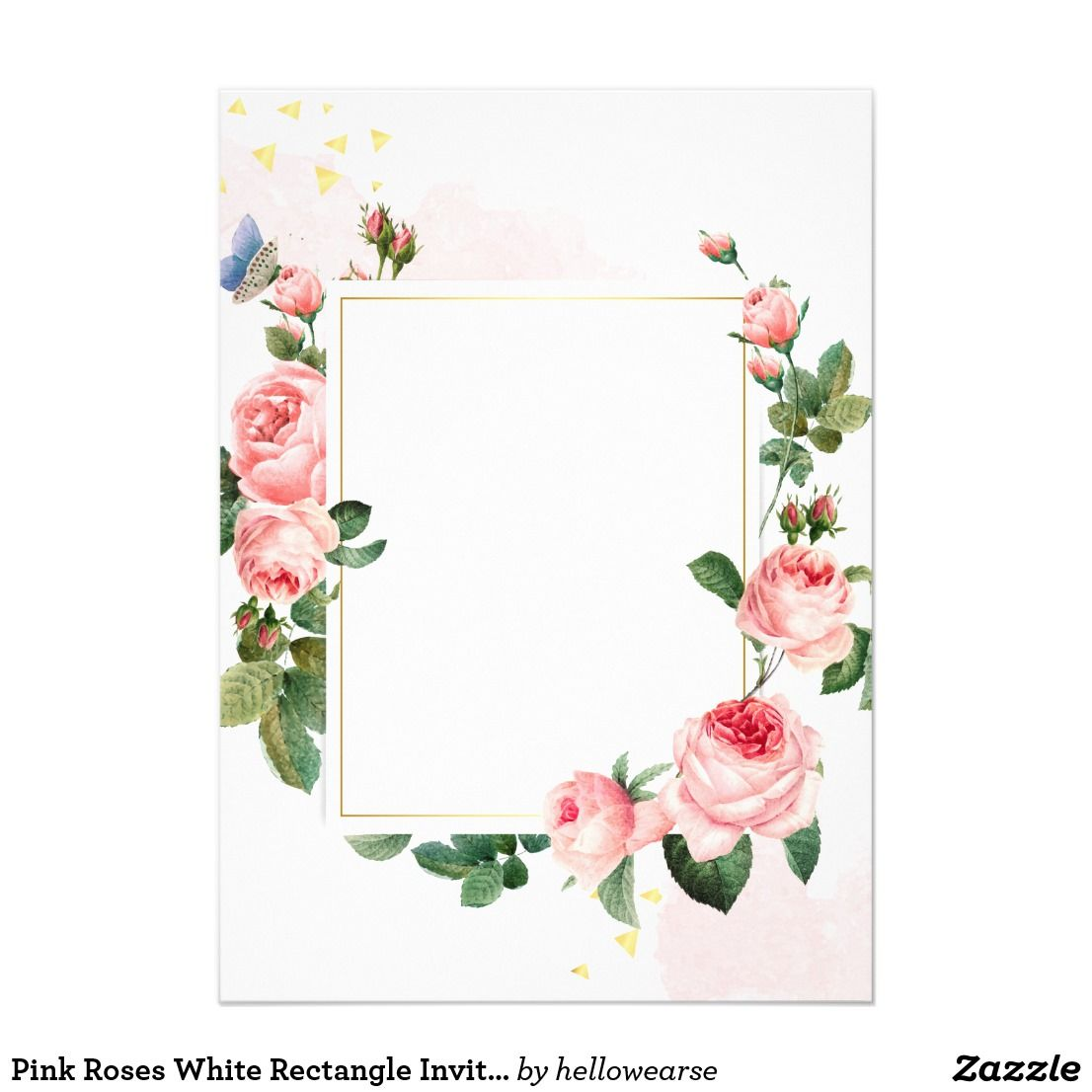 Pink Roses White Rectangle Invitation Card Zazzle Com Pink Invitations Pink Roses Invitation Card Party