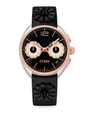 557ed12f3fda FENDI Momento Flowerland Stainless Steel Chronograph Leather Strap Watch. # fendi #