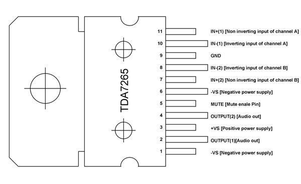 Tda7265 Pinout Pin Diagrams In 2019 Audio Amplifier Audio