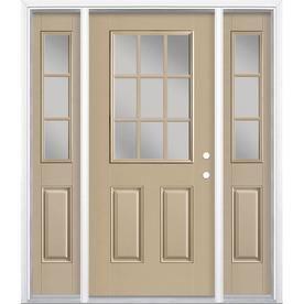 Masonite Full Lite Grills Between The Glass Left Hand Inswing Sandy Shore Painted Fiberglass Prehung Entry Door With Sidelights Entry Doors Easy Install Doors