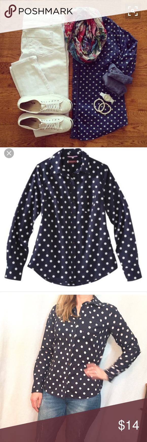 "Navy Polka Dot Button Up Oxford Shirt A preppy classic! Navy with ivory dots. Measures 17.5"" armpit to armpit flat across and 23"" shoulder to hem length. In good condition! Tops Button Down Shirts"
