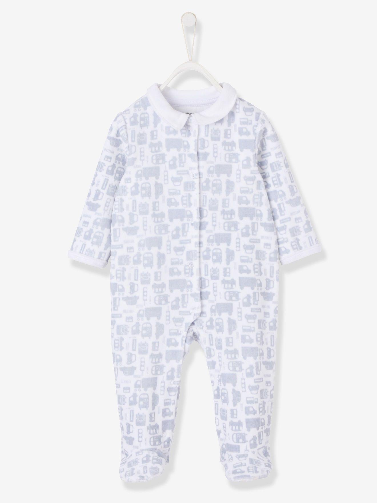52fda458f Pijama estampado de terciopelo automáticos delante bebé blanco estampado -  Vertbaudet