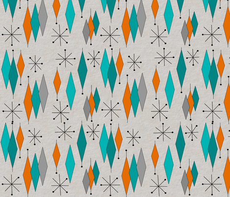Mid Century Modern Diamond Pattern Fabric By Mid Century On Spoonflower    Custom Fabric