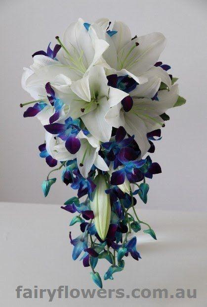 Blue Orchid Teardrop Bouquet White Lily Blue Orchids Bridal Orchids Wedding Flowers Blue Orchid Wedding Orchid Wedding