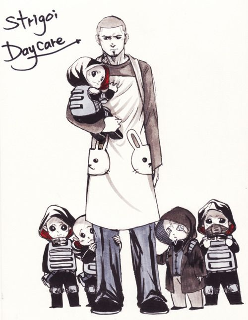 AHHHH LITTLE STRIGOI!! Of course Gus would be the baby sitter. He technically is already. xD