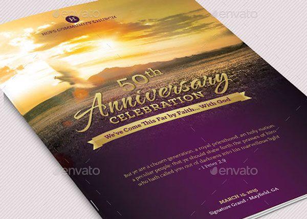 Church Anniversary Service Program Large Template On Behance