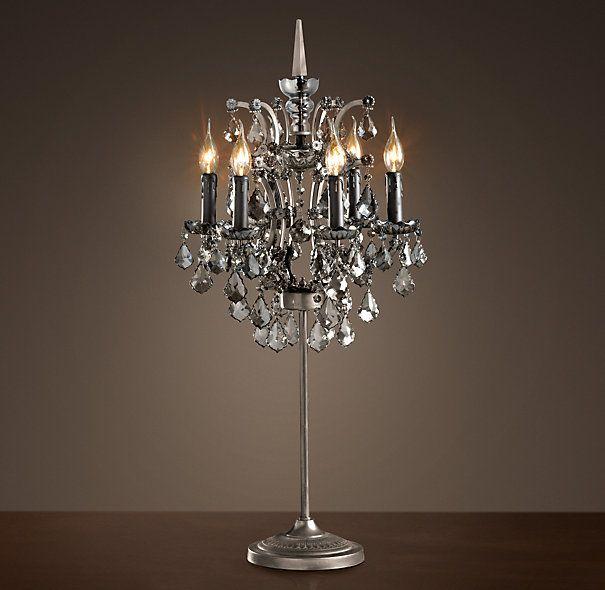 19th C Rococo Iron Smoke Crystal Table Lamp Crystal Table Lamps Chandelier Table Lamp Table Lamp
