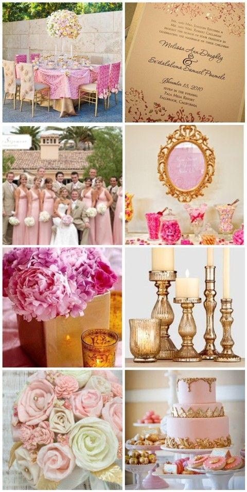 Pink and Gold on http://itsabrideslife.com- the invitations, bridesmaid dresses and flowers