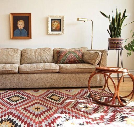 Vintage Tweed Oatmeal Sofa by Bauhaus Textured carpet