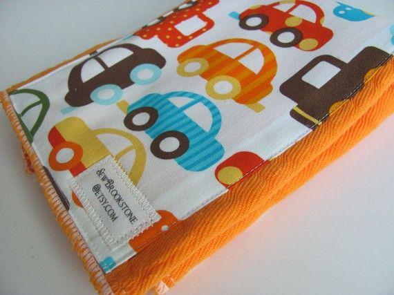 Orange Hand Dyed Mini Burp Cloth With Organic Cotton Ready Set Go
