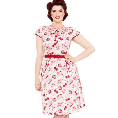 Image of Voodoo Vixen Hilda Cherry Dress 50\'s Vintage Rockabilly Pin ...