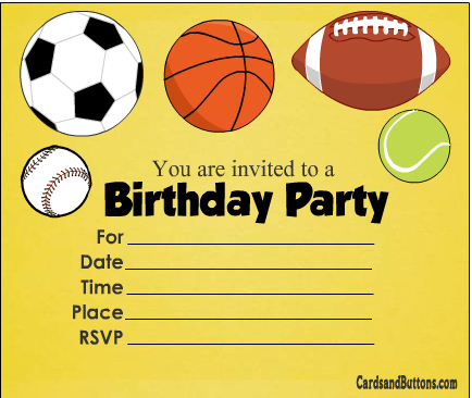 Free Printable Sports Themed Birthday Invitations In Yellow Color Sports Theme Birthday Printable Birthday Invitations Free Printable Birthday Invitations