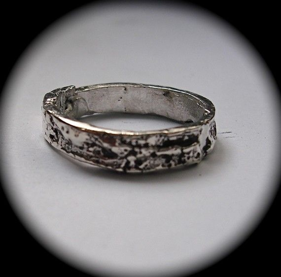 Silver Tree Bark Ring sizes 4 to 11 made to order by billyblue22, $40.00
