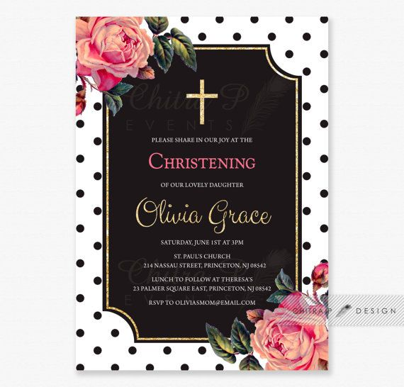 Coral & Gold Baptism Invitations - Printed or Printable, Glitter Christening Communion Polka Dot Girl Baby Invite Rose Brunch Cross - #063