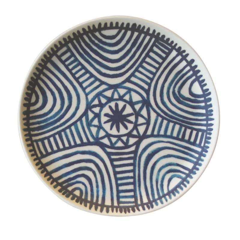Bambus Teller African Labyrinth In Weiss Mit Blauem Muster Mini