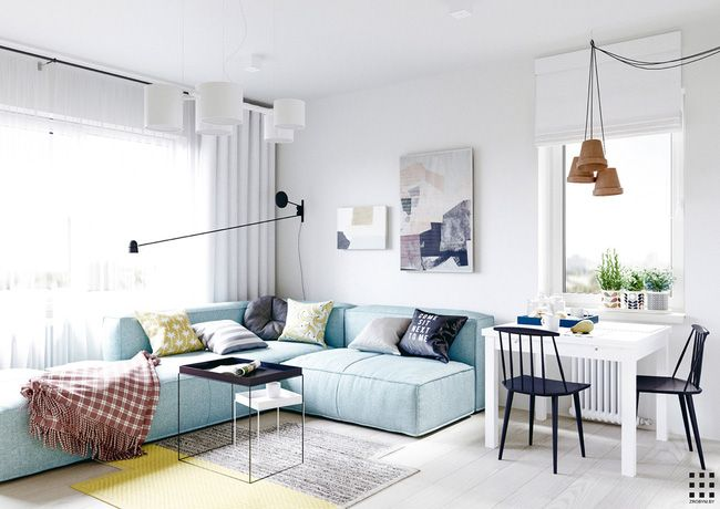 A scandinavian style apartment perfect for a small family includes floor plan interior design ideas