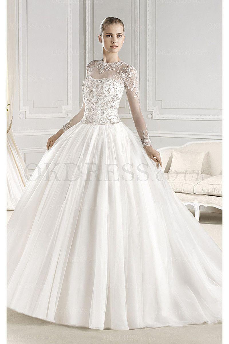 Fabulous Ball Gown Chapel Train Long Sleeves Ball Gown Wedding ...