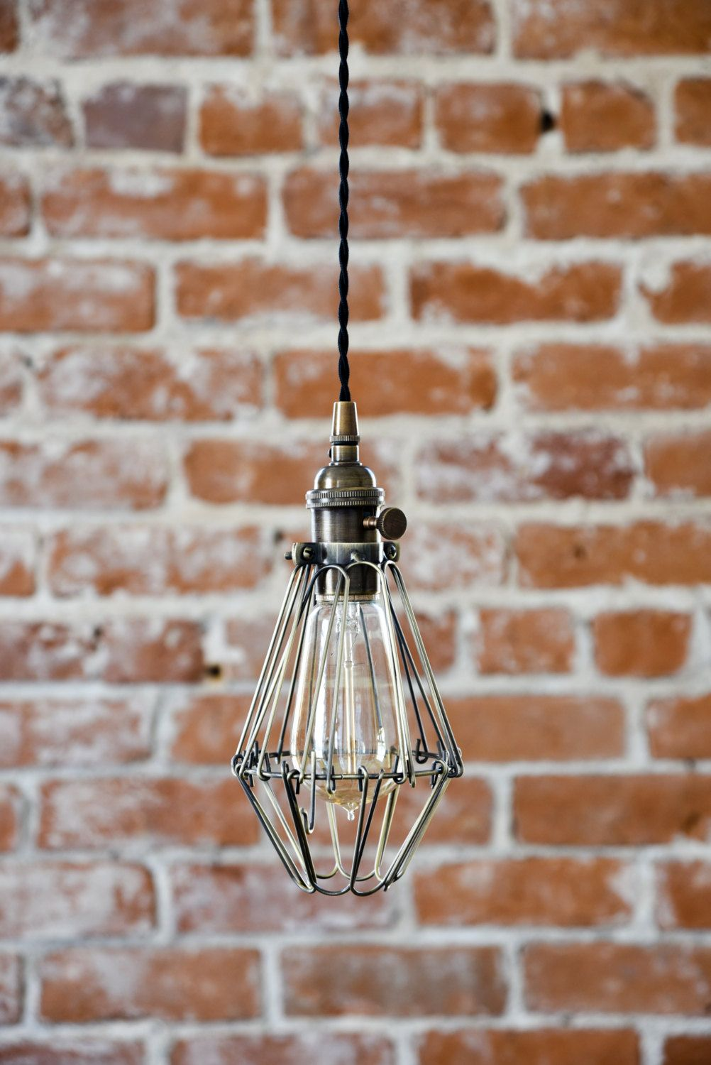 Free Shipping Industrial Antique Brass Cage Wire Hanging