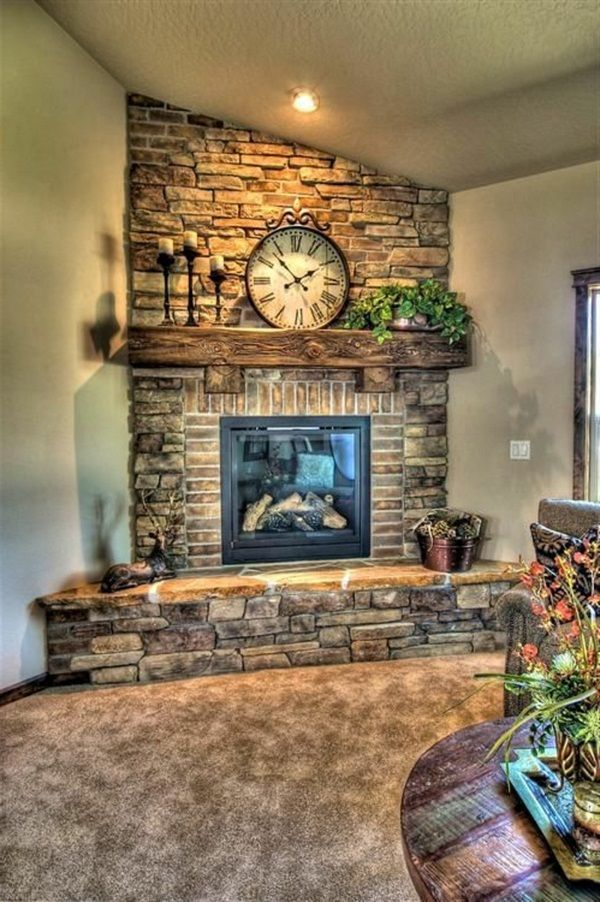 Brick Fireplace Beautiful House With A Wall Clock Brick