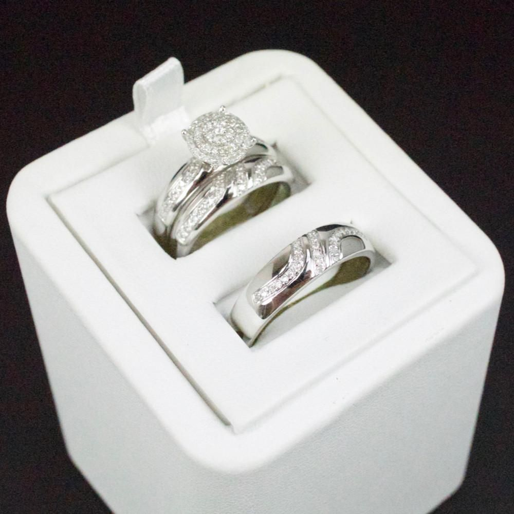 His Her 14K White Gold Over Diamond Trio Wedding Set Bridal Band Engagement Ring