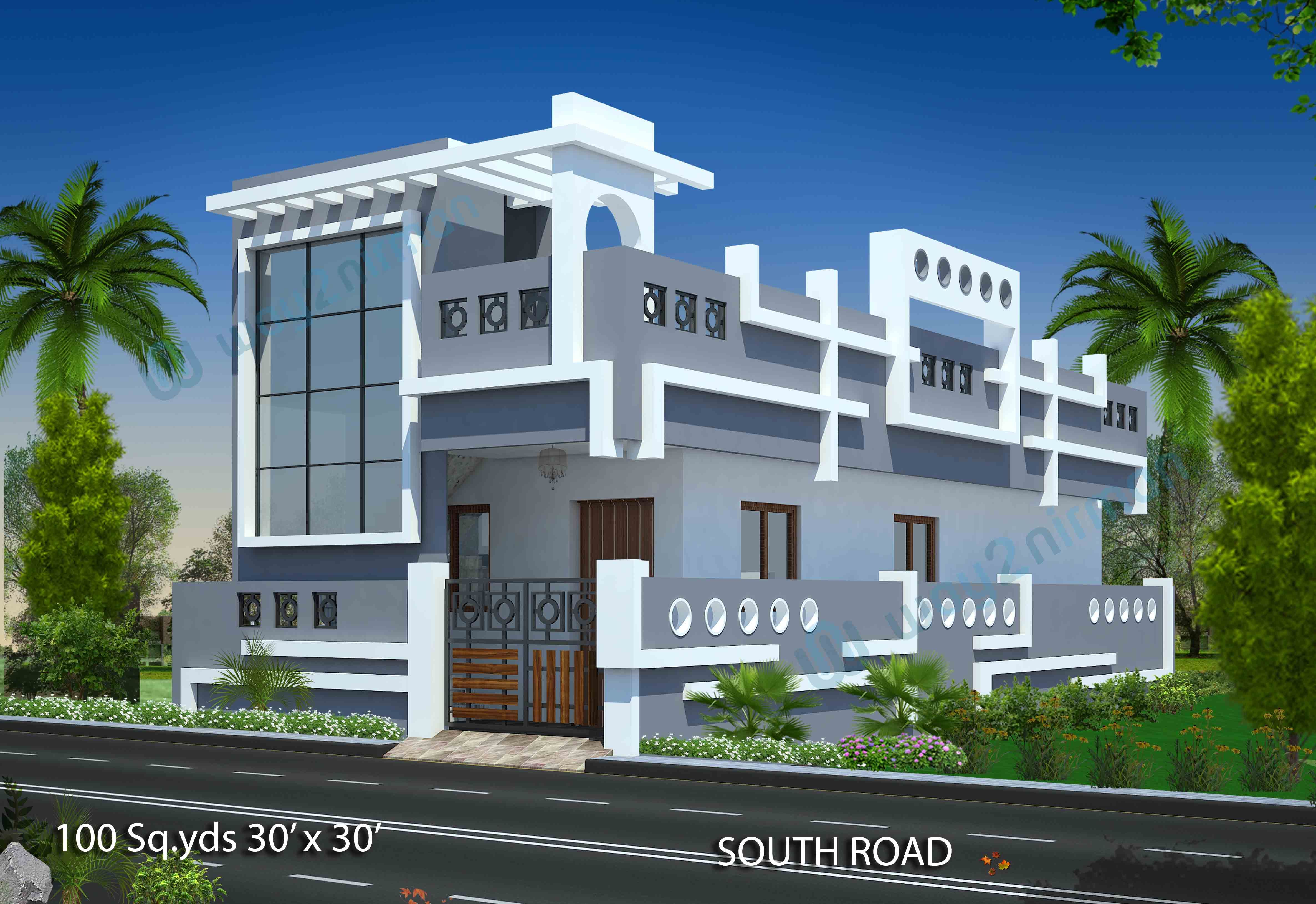 download free plans 100 sq yds 30x30 sq ft south face house 1bhk rh pinterest com  home front elevation download