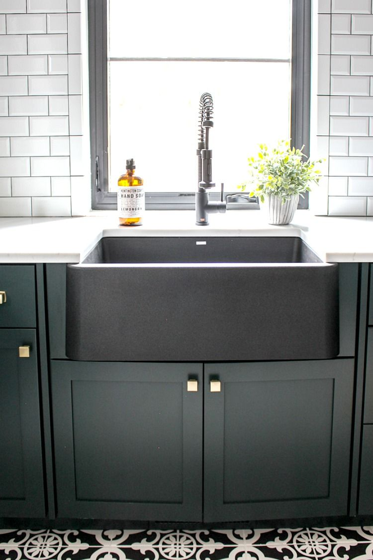 Designer And Blogger Shauna Of The House Of Silver Lining Features Blanco In Her Gorgeous Home Remodel Blanco By Design Black Farmhouse Sink Farmhouse Sink Cottage Kitchen Design