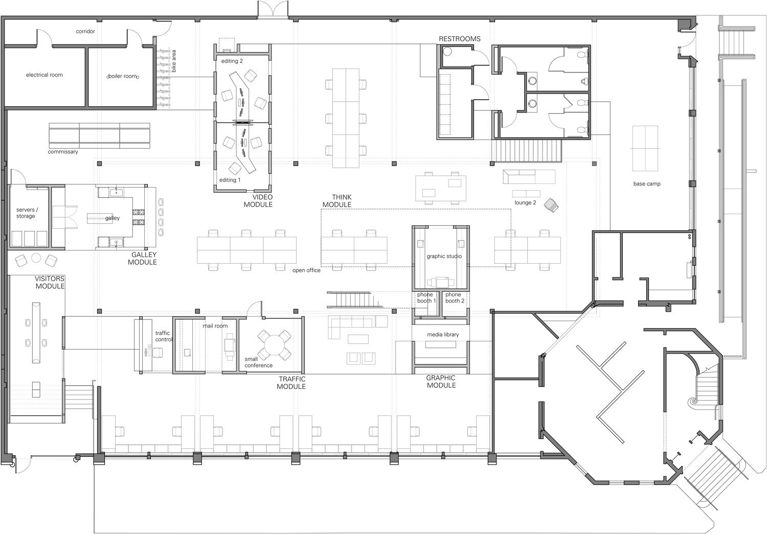 North skylab architecture office floor plan office for Interior design space planning guidelines