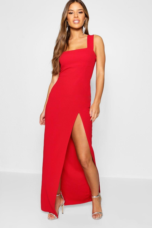 Petite Square Neck Split Maxi Dress Boohoo In 2021 Ruched Maxi Dress Split Maxi Dress Petite Outfits [ 1500 x 1000 Pixel ]