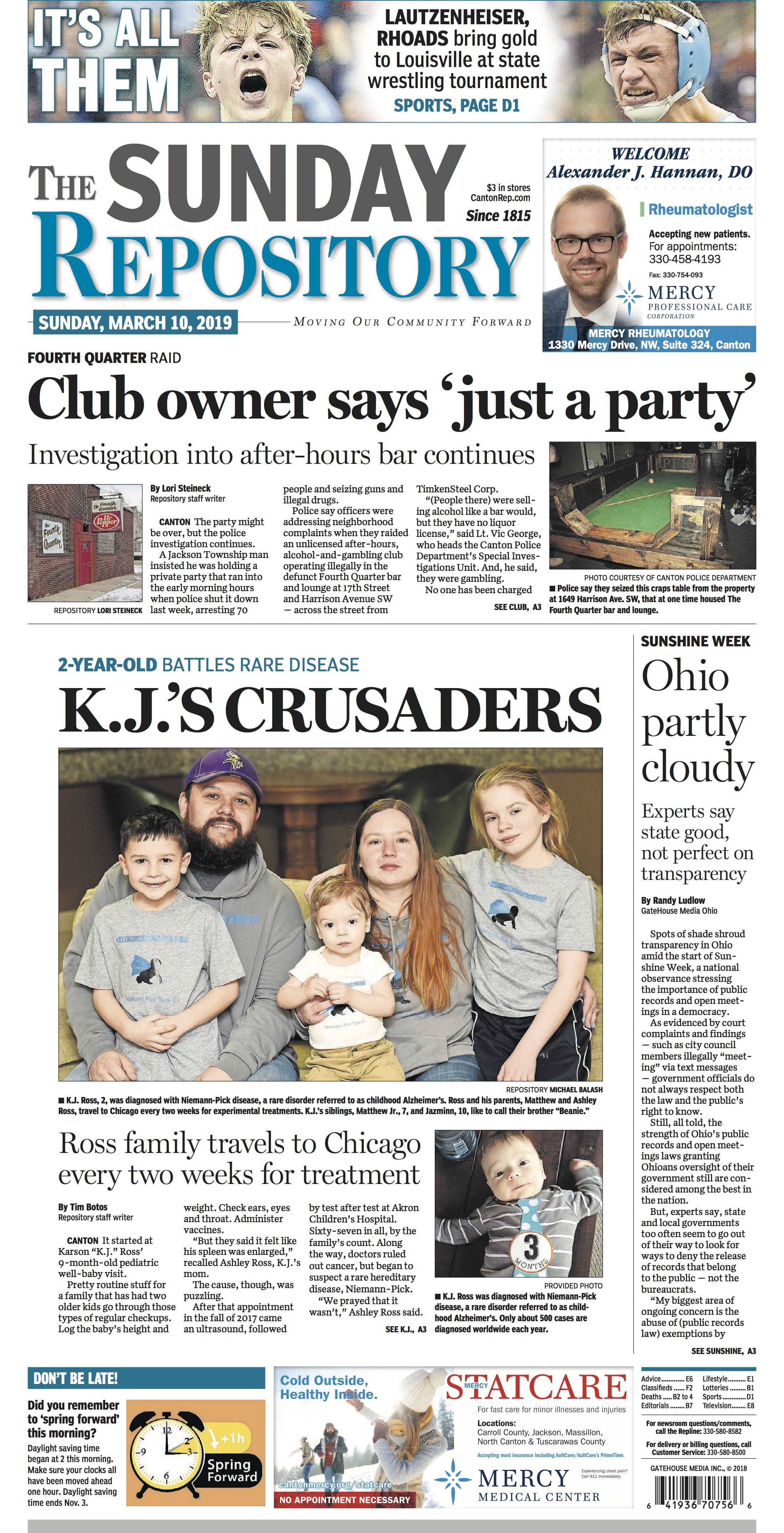 The Front Page Of The Canton Repository For March 10 2019