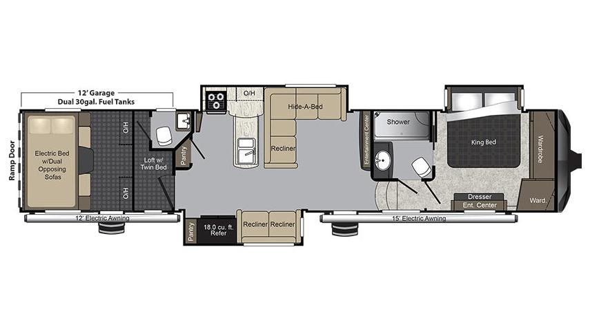2018 Keystone Raptor 425TS Floor Plan Toy Hauler