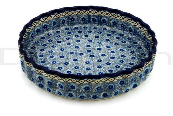Polish Pottery 8-inch Fluted Pie Dish   Boleslawiec Stoneware   Polmedia H9385B