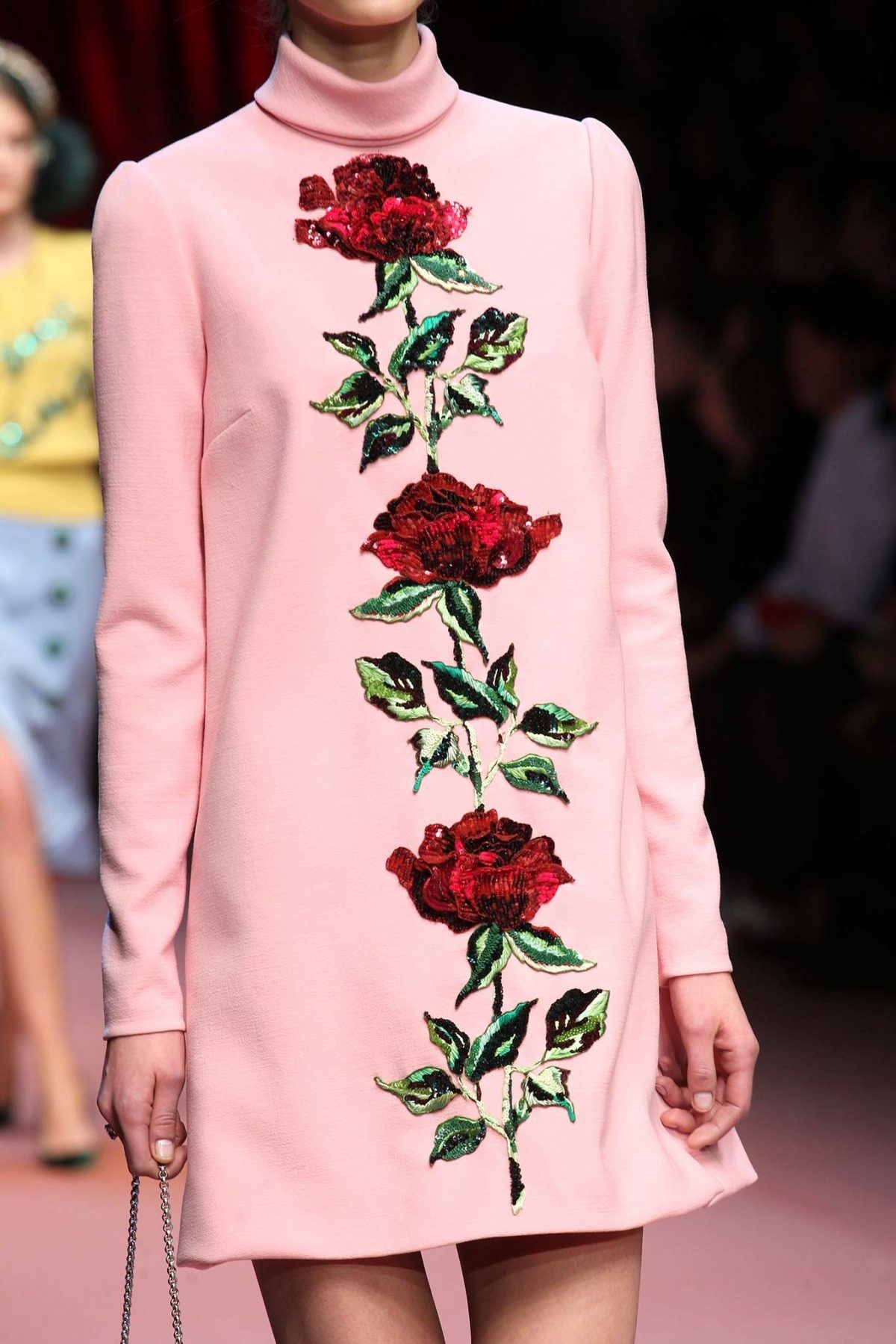 Dolce & Gabbana FallWinter 2015 Baby Pink Dresses with Red Roses applique
