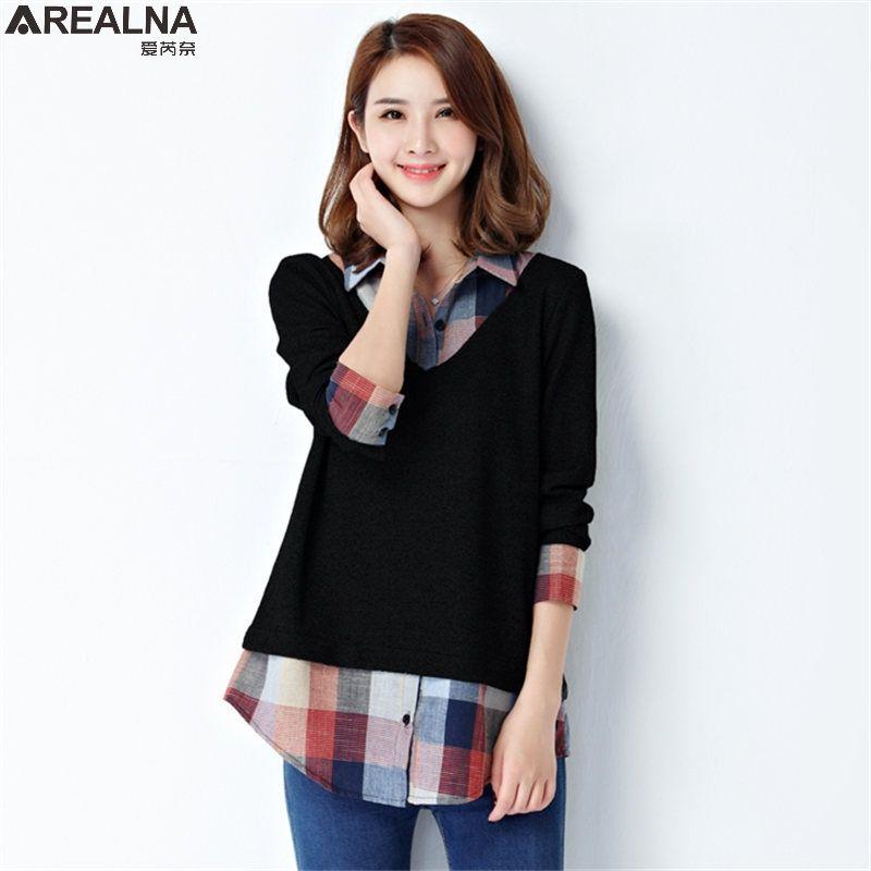 Spring Fake Two Blouse Women Tops Shirt Vintage Plaid Sching Las Office Korean Fashion