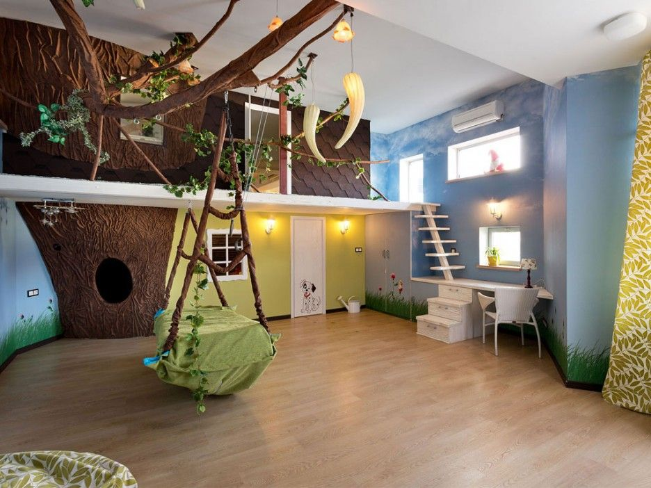 rustic-boys-bedroom-themes-with-jungle-kids-bedroom-design-combined-chic-tree-house-decor-also-hanging-single-bed-in-green-accents-featuring-corner-study- ...