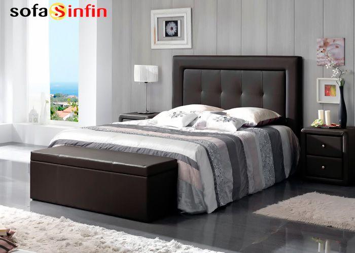 Cabecero de cama tapizado en piel y polipel modelo lucia fabricado dupen en - Cabeceros cama tapizados ...