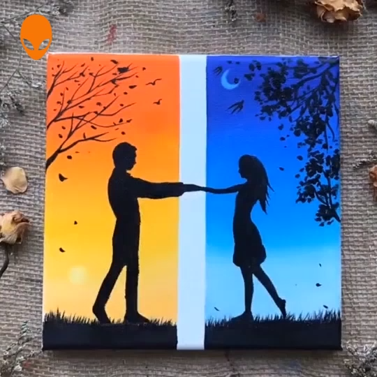 15 Beautiful Paintings About Love Painting Tutorial Videos Part 12 Video Small Canvas Art Oil Pastel Art Simple Canvas Paintings