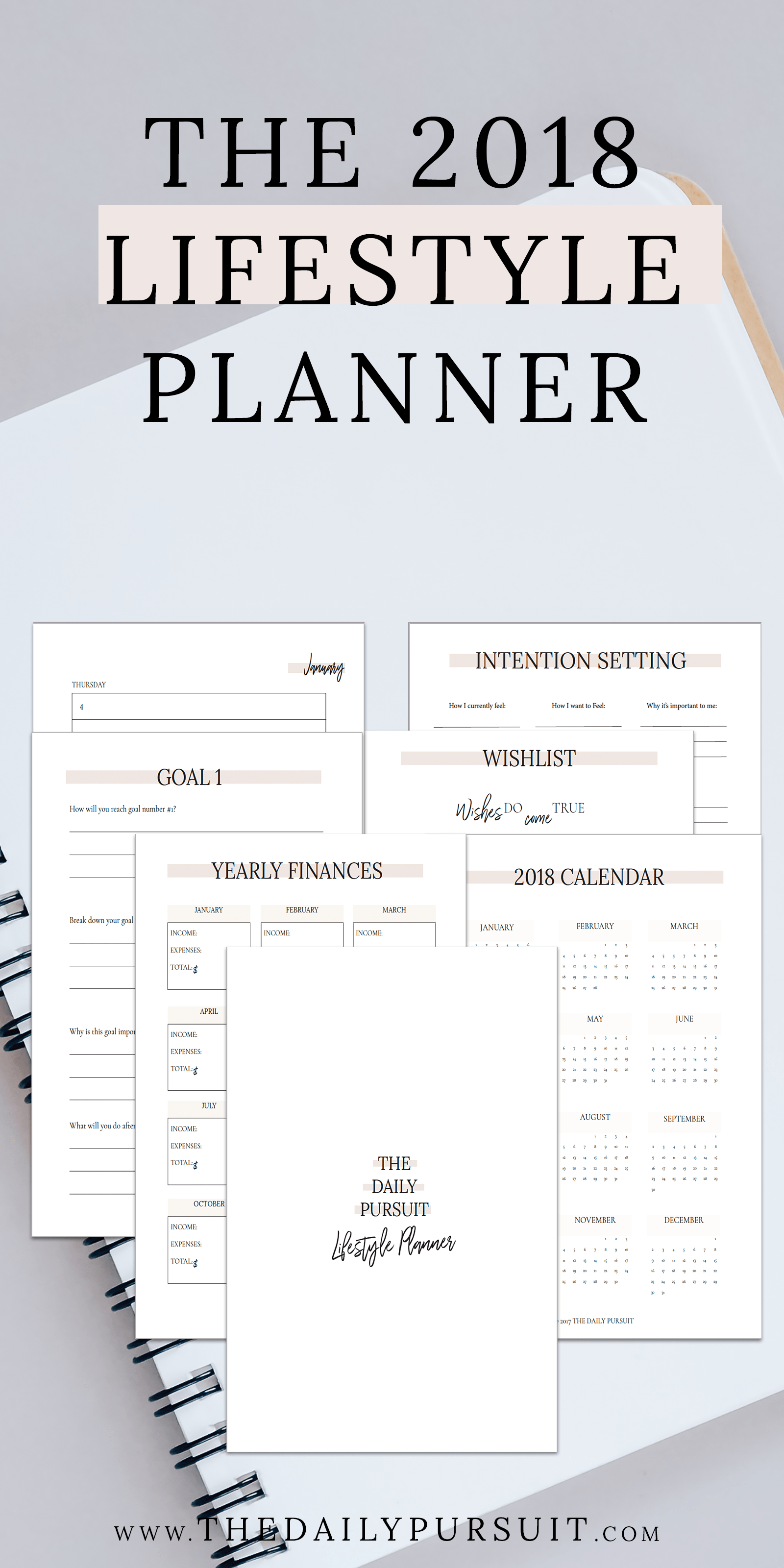 Lifestyle Planner Printable Yearly Calendar Goal