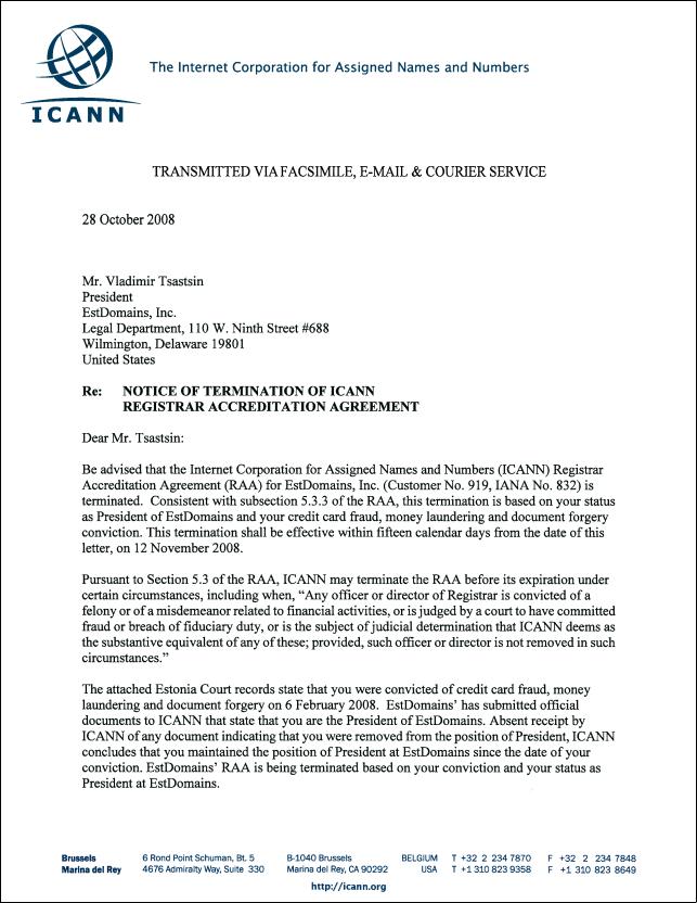 Icann Revoking Vladimir Tatins And Estdomains Registrar Rights