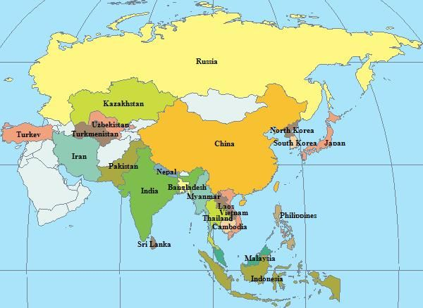 continent of asia ASIA MAP Travel Absorb Pinterest Asia