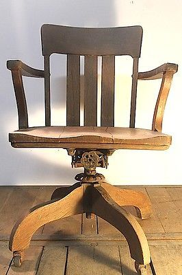 Antique Solid Wood Maple Swivel Office Bankers Chair