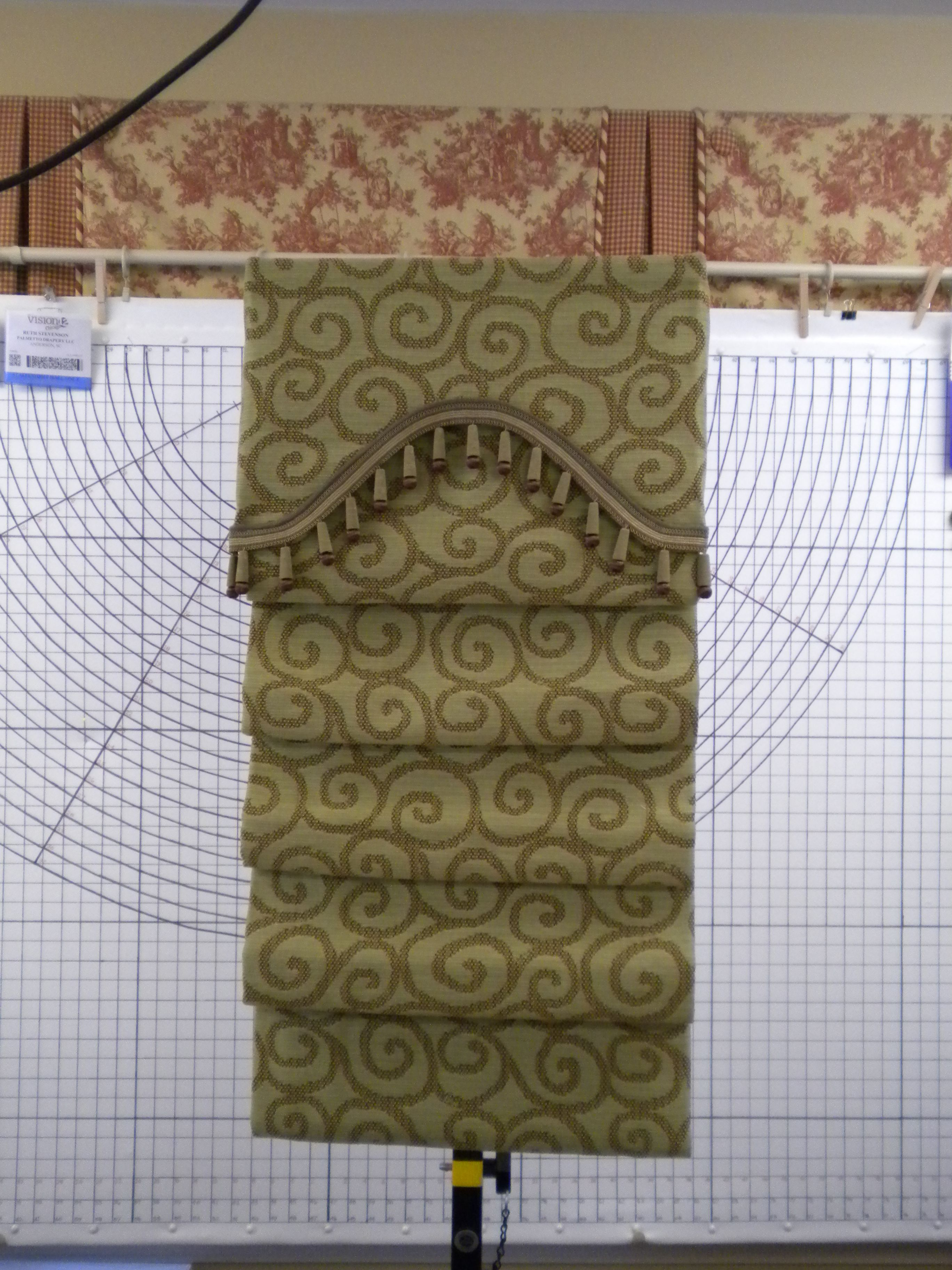 Hobbled Roman Shade With Shaped Valance Judy Peters