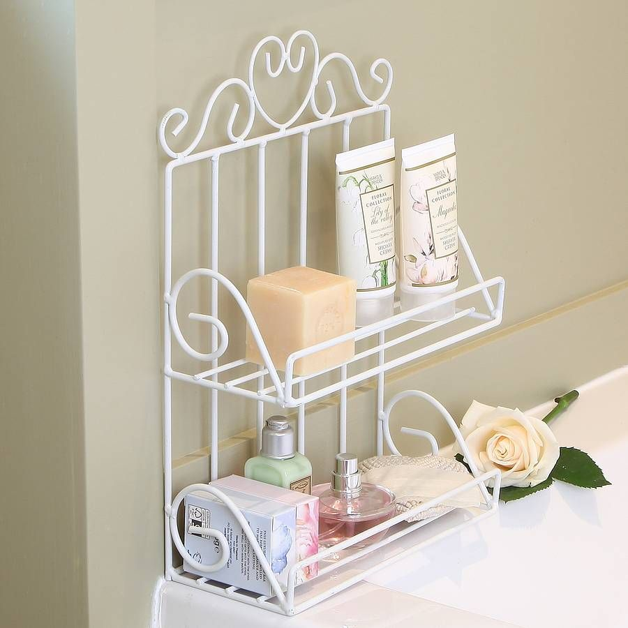White Wire Two Tier Bathroom Storage Rack | Storage rack, Bathroom ...